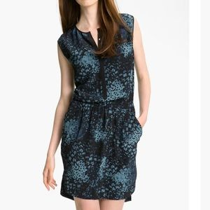 Rebecca Taylor Silk Print Sleeveless Dress pockets